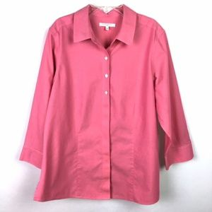 Foxcroft Non Iron button down shirt sz 14 pink